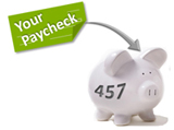 Image illustrating deposit of paycheck into a 457 piggy bank