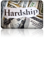 Image of U.S. dollars with the word Hardship on top